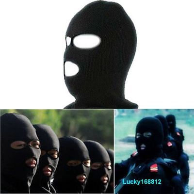 Winter Camping Cover Beanie Face Shield  Cap 3 Hole Ski Mask Black Knit Hat