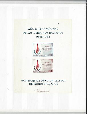CHILE, 1968, HUMAN RIGHTS YEAR, Block, SOUVENIR SHEET, UNPERF, geschnitten