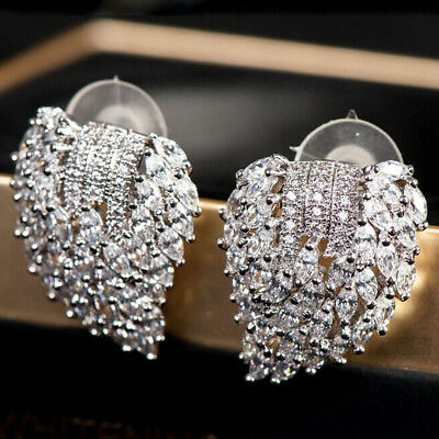 Fashion White Sapphire Ear Drop Dangle Stud 925 Silver Filled long Earrings Gift