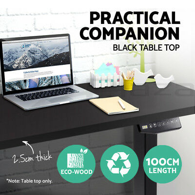 Table Desk Top For Height Adjustable Frame Standing Sit Home Office 100cm Black