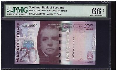 AA 1000000 2007 SCOTLAND 20 Sterling Pounds Super Solid No. PMG 66 EPQ P#126a