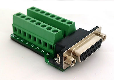 DB15 DSUB 15pin Female Adapter RS-232 Breakout Board Connector (D8)