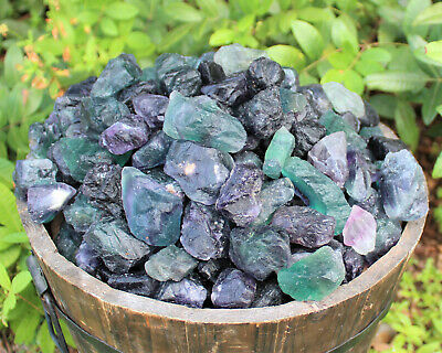 1/2 lb Bulk Lot Natural Rough Rainbow Fluorite (Raw Crystal Healing Rock 8 oz)