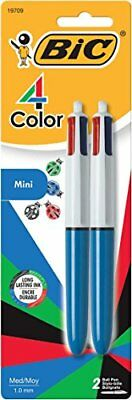 BIC 4-Color Mini Ball Pen, Medium Point (1.0mm), Assorted Ink, 2-Count New