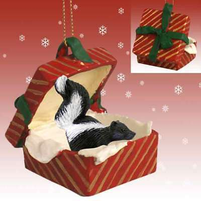 Skunk RED Gift Box Holiday Christmas ORNAMENT
