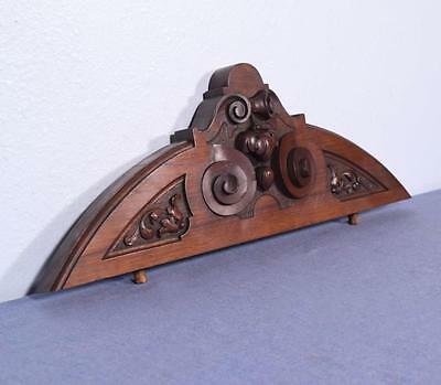"""*22"""" French Antique Bow Top Pediment Architectural Crown Walnut Wood Crest"""
