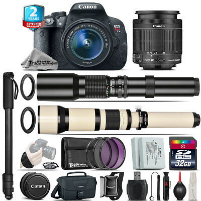 Canon EOS Rebel T5i + 18-55mm IS STM + 500-1300mm + Extra Battery - 32GB Kit