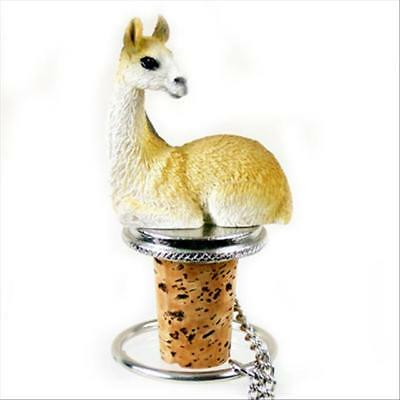 Llama Hand Painted Resin Figurine Wine Bottle Stopper