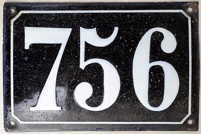 Large old black French house number 756 door gate plate plaque enamel metal sign