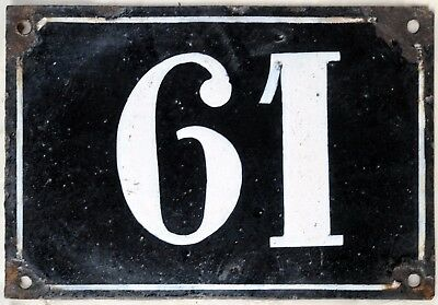 Large old black French house number 61 door gate plate plaque enamel metal sign