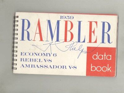 1959 Rambler Economy 6 Rebel V8 Ambassador Salesman's Data Book Brochure wy7646