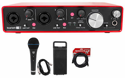 Focusrite SCARLETT 2I4 2nd G 192kHz USB Audio Recording Interface+Mic+Case+Cable