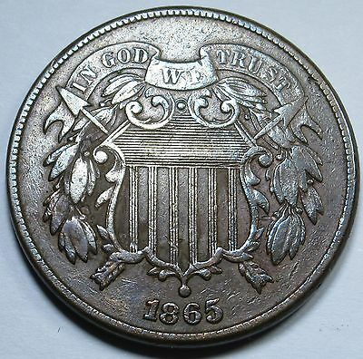 1865 XF-AU Detail U.S. Two Cent Piece 2 Penny US Antique Currency Coin Money USA