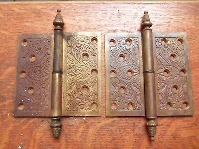 "Two Victorian Ornate Fancy Antique 5.5"" Bronze Door Hinges Pat 1873"