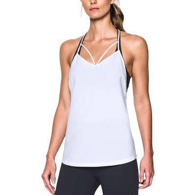 Under Armour 3897 Womens White Pullover Racerback Lightweight Tank Top L BHFO