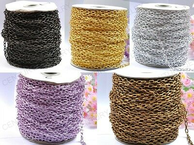 Lots 2M Cable Open link Iron Metal Chains Jewelry Findings 14Colors