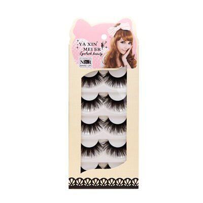 5 Pairs Natural Soft Long Black Makeup Beauty Thick False Eyelashes Eye Lashes