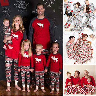 6 Styles Family Matching Christmas Pajamas PJs Sets Xmas Sleepwear Nightwear