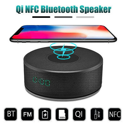 QI Wireless Charger Bluetooth NFC Speaker Power Bank  Alarm Clock Charging Dock