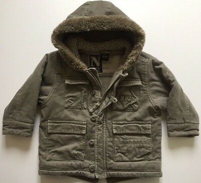 Next Boys 12-18 Months Quilted Khaki Military Style Fleece Lined Hooded Jacket