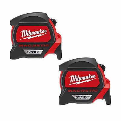MILWAUKEE 48227216 GEN2 Magnetic Tape Measure 5m/16ft Twinpack