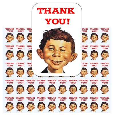 "50 Alfred E Neuman Thank You Envelope Seals / Labels / Stickers, 1"" by 1.5"""