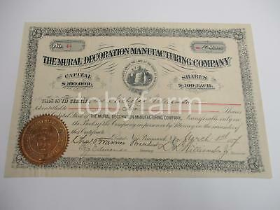 1887 Scarce Mural Decoration Manufacturing Company New Jersey Stock Certificate