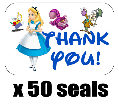 "50 Alice In Wonderland Thank You Envelope Seals / Labels / Stickers, 1"" by 1.5"""