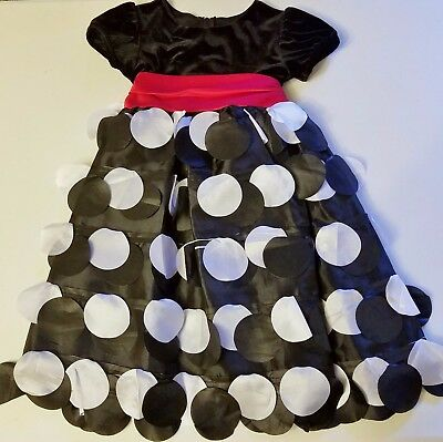 Girls RARE EDITIONS Christmas party dress 5 black white red ruffle dots photos