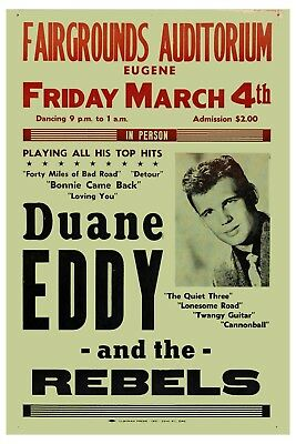 RARE: Duane Eddy & The Rebels at Fairgrounds Auditorium Concert Poster 1960