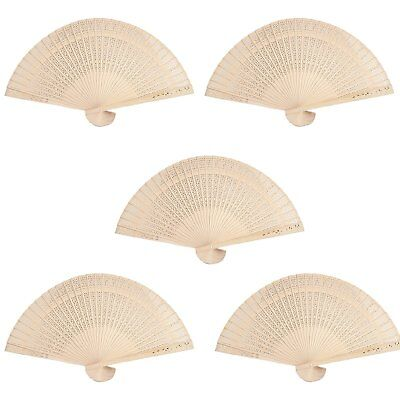 Set of 5 Traditional Style Japanese Wooden Folding Hand Pocket Fans US SELLER