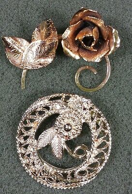 Vtg Jewelry LOT OF 2 Brooch Scarf Pin Gold Tone Flower Rose Beautiful Design#...