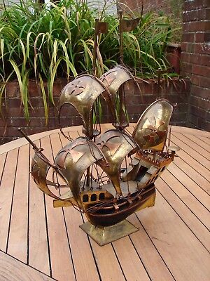 Ship Lamp Brass Copper Tapiol Galleon Tall Ship Rigged Rare Vintage Antique GSP