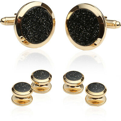 Black Diamond Dust Gold Cufflinks and Studs Direct from Cuff-Daddy
