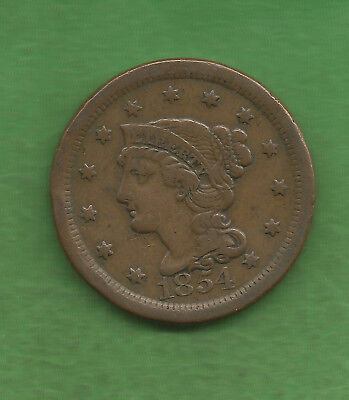 1854 Braided Hair, Large Cent - 163 Years Old!!!