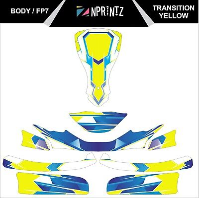 Fp7 Transition Yellow  Full Kart Sticker Kit - Karting - Otk - Rotax Iame