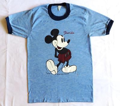 VINTAGE T SHIRT 70's Mickey Mouse Florida HEATHER BLUE Disney Acrylic Thin RARE