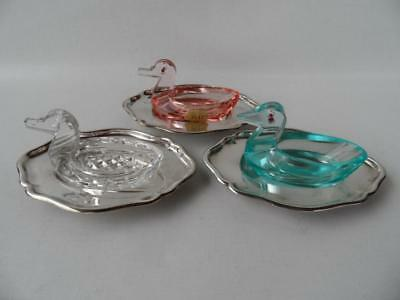 3 Vintage German Art Deco Colour  Crystal Glass Duck Open Salts & Silver Dishes