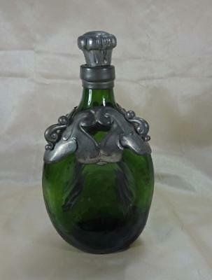 Antique Green Glass Pinch Bottle Decanter w/Pewter Overlay Made in Denmark c1920