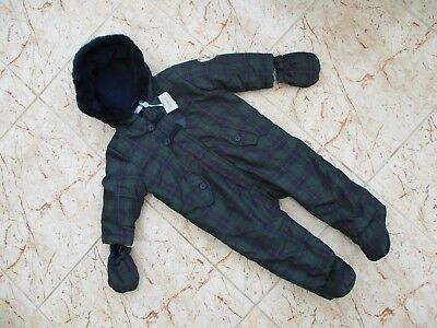 BNWT Baby M&Co All In One SnowSuit With Detachable Mittens Age 9-12 Months