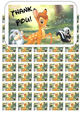 "50 Bambi and Thumper Thank You Envelope Seals / Labels / Stickers, 1"" x 1.5"""