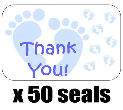 """50 Blue Baby Feet Thank You Envelope Seals / Labels / Stickers, 1"""" by 1.5"""""""