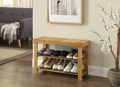 Natural Bamboo Shoe Rack Bench 2 Tier Organizer Entryway Seat Storage