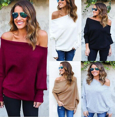 aea8812cec375 NEW OVERSIZE LADY Off Shoulder Batwing Sleeve Knit Sweater Tops Pullover  Outwear -  3.59