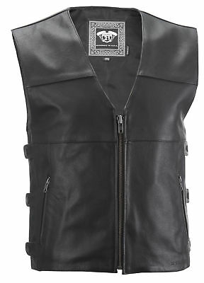 Highway 21 Adult Motorcycle 12 Gauge Black Leather Vest S-4XL