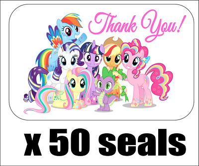 "50 My Little Pony All Rainbow Thank You Seals / Labels / Stickers, 1"" x 1.5"""