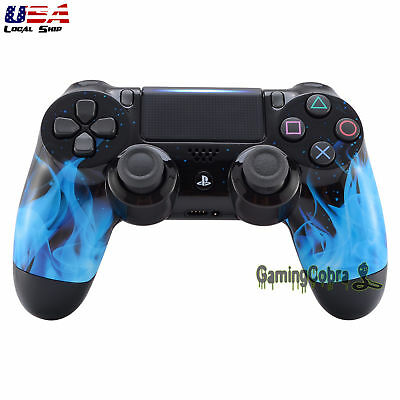 For PS4 Pro Slim Controller Replacement Front Shell Blue Fire Designed JDM-040