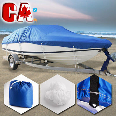 "210D 20-22 ft Heavy Duty Trailerable Waterproof Boat Cover V-Hull Beam 100"" Blue"