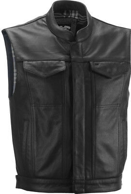 Highway 21 Adult Motorcycle Magnum Black Leather Vest Black S-4XL