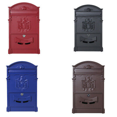 Vintage Retro Cast Iron Wall Mount Mailbox Mail Letter Box W/ Lock & Keys US